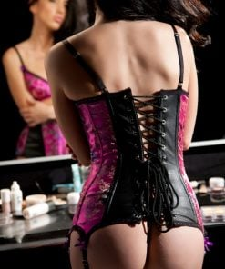 Leather and Brocade 'Elle' Corset – Size Small