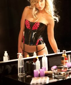 Red & Black Vinyl Corset – Size Large