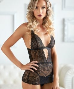Black Dahlia Lace Chemise with G-string – Size S/M