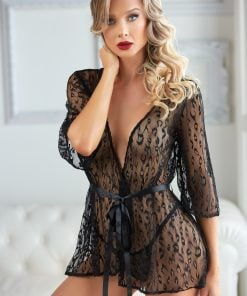 Valentina Black Leopard Lace Robe with G-string – Size XL