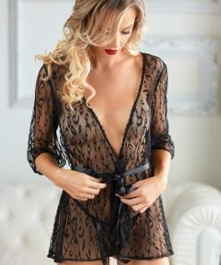 Valentina Black Leopard Lace Robe with G-string – Size One Size Fits Most