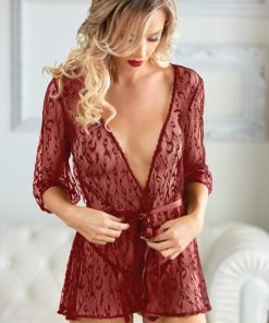 Valentina Burgundy Leopard Lace Robe with G-string – Size XL