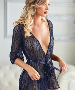 Valentina Blue Leopard Lace Robe with G-string – Size XL
