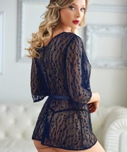 Valentina Blue Leopard Lace Robe with G-string – Size One Size Fits Most