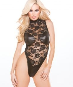 Lace & Wet Look Teddy – Size One Size Fits Most