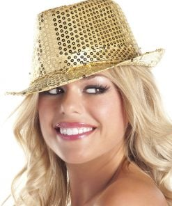 Sequin Fedora – Gold – One Size