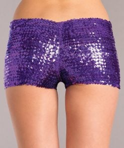Sequin Booty Shorts – Purple – Small