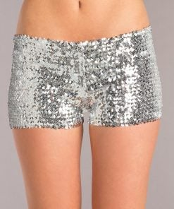Sequin Booty Shorts – Silver – Small