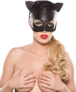 Faux Leather Cat Mask – Size One Size Fits Most