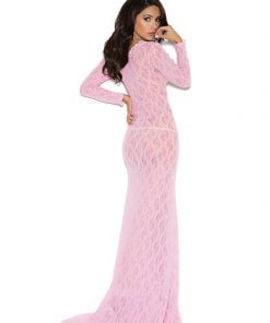 Long sleeve lace gown with deep V – Size S