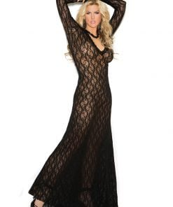 Long sleeve lace gown with deep V – Size 1X