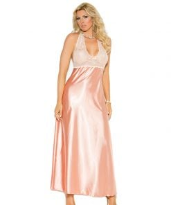 Lace and charmeuse halter neck gown – Size 1X