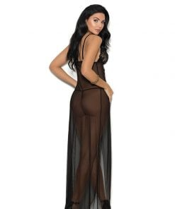 Long mesh gown features front slit – Size S