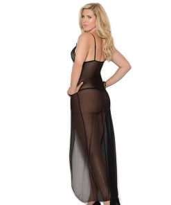 Long mesh gown features front slit – Size 1X