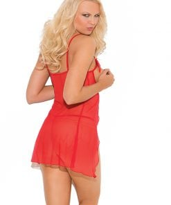Mesh cupless babydoll with satin bows – Size S