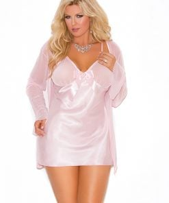 Satin babydoll with mesh bow – Size 1X