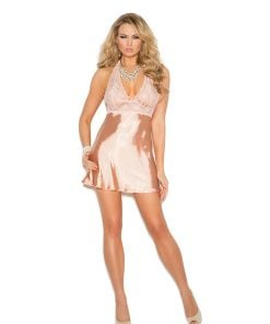 Lace and charmeuse halter neck babydoll – Size S