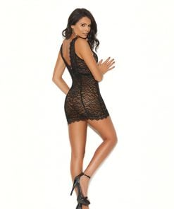 Eyelash lace, double band empire waist chemise – Size S