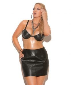 Underwire Leather Bra with Straps and Hook – Size 40