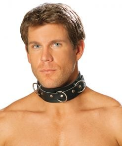Men's leather collar with O rings and nail heads. – Size One Size