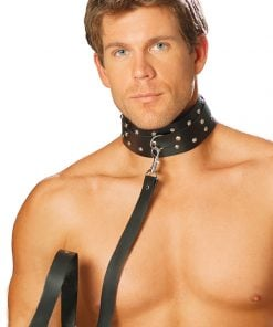 Men's leather collar with studs and O ring. – Size One Size