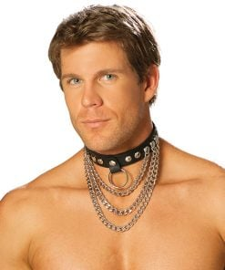 Men's leather collar with chains and O ring. – Size One Size