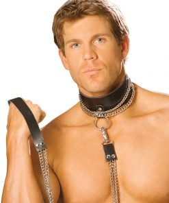 Leather Choker with Chain and Leash – Size One Size