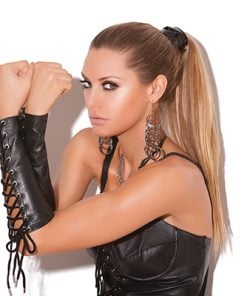Leather Lace up Gloves – Size One Size