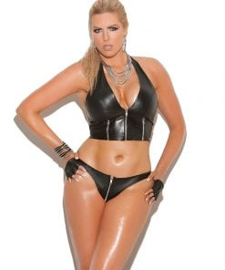 Zip up leather thong. – Size Queen Size