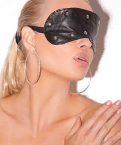 Leather Blindfold with Studs – Size One Size