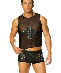 Mesh tank top with leather cross trimmed in nail heads. – Size M