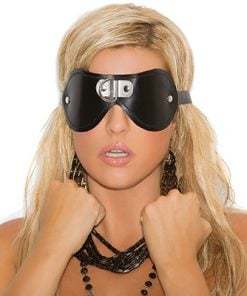 Leather Blindfold with D Ring Detail – Size One Size