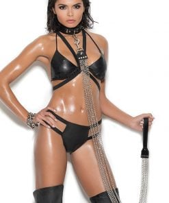 Chain Leash with Leather Black Handle – Size One Size
