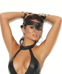 Leather chain mask. – Size One Size