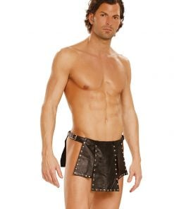 Leather kilt with nail heads and adjustable buckle closure. – Size S/M
