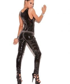 Deep V vinyl catsuit with zipper front. – Size S