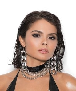 Vinyl choker with 3 chains. – Size One Size