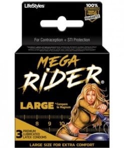 Lifestyles Mega Rider Large Latex Condoms 3 Pack