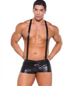 Wet Look Suspender Shorts Black O/S