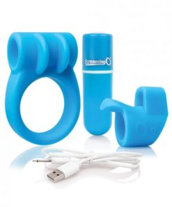 Screaming O Charged Combo Kit #1 C Ring & Finger Sleeve Blue
