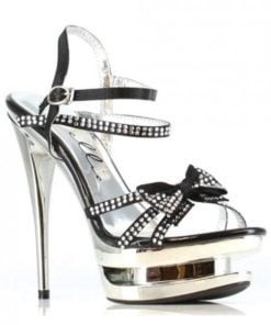 Ellie Shoes Tess 6″ Rhinestone Strap Heel w/Bow Black Ten