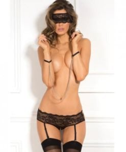 Rene Rofe Crotchless Panty, Mask & Chain Cuffs Black M/L
