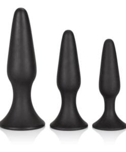 Silicone Anal Trainer Kit Black 3 Piece Set