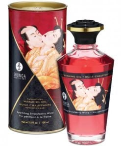 Shunga Warming Oil Sparkling Strawberry Wine 3.5oz.