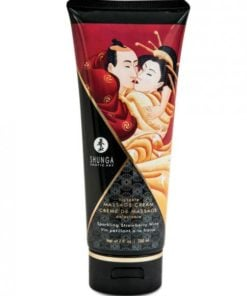 Shunga Kissable Massage Cream Sparkling Strawberry Wine 7oz