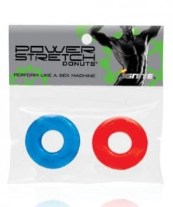 Power Stretch Donuts Cock Rings 2 Pack Red Blue