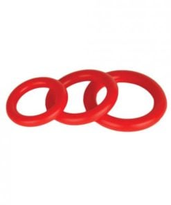 Power Stretch Silicone Donuts Rings 3 Pack Red