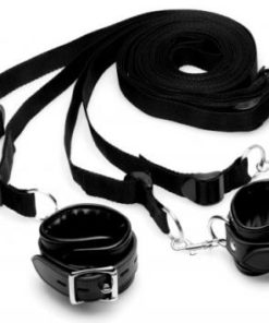 Deluxe Bed Restraint Kit Black Leather